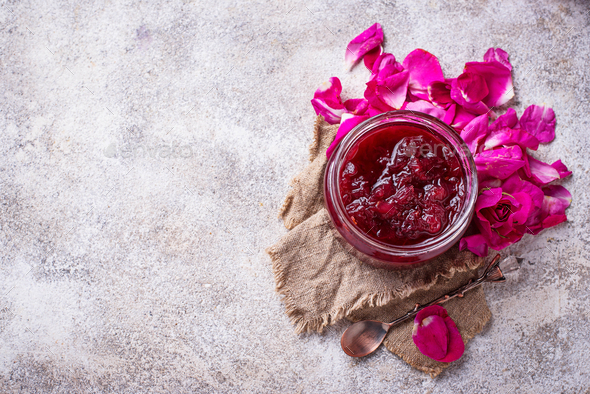 Homemade jam of rose petals - Stock Photo - Images