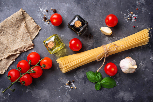 Pasta, tomatoes, olive oil and vinegar - Stock Photo - Images