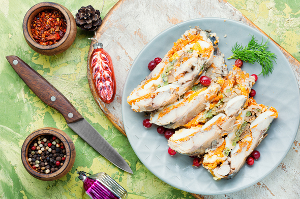 Fish roll with vegetables - Stock Photo - Images