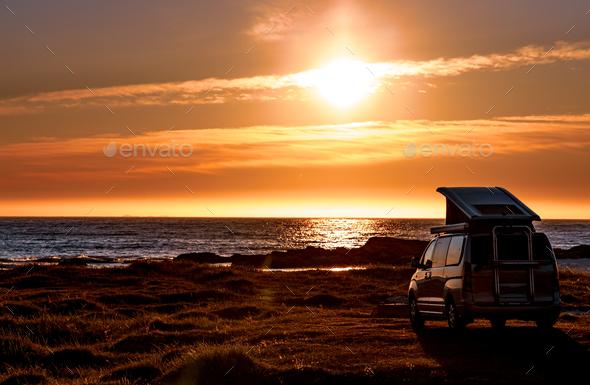 Camping car minivan on the beach at sunset Lofoten beach. - Stock Photo - Images