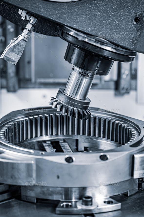 Metalworking CNC lathe milling machine. Cutting metal modern pro - Stock Photo - Images