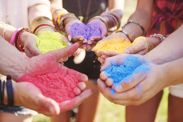 Music festival with colour powders - Stock Photo - Images