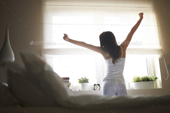 She has good night's sleep - Stock Photo - Images