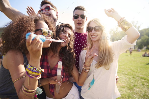 Celebrate the summer day on music festival - Stock Photo - Images