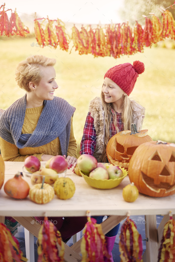 Starting the Halloween party with mommy - Stock Photo - Images