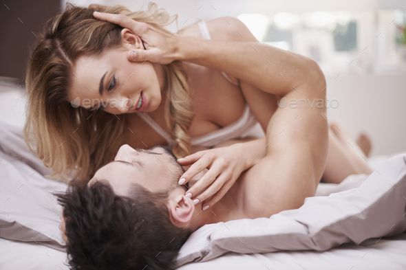 Intimate scene of couple in love - Stock Photo - Images