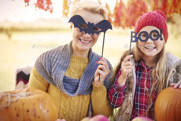 Portrait of mother and daughter during the Halloween - Stock Photo - Images