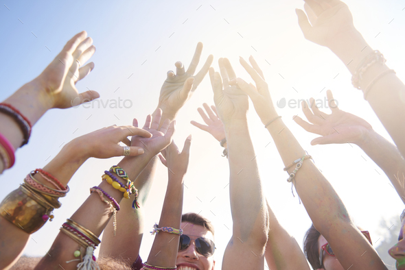 Summer music festival attracting a lot of people - Stock Photo - Images