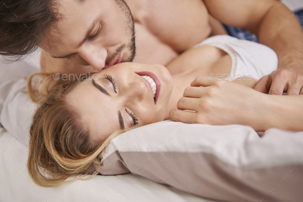 I love when he touch me - Stock Photo - Images