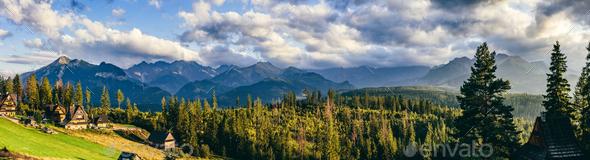 Mountain peaks panorama at sunset. Tatra Mountains, Poland. - Stock Photo - Images