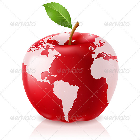 Download Red Apple World Map AI EPS Vector