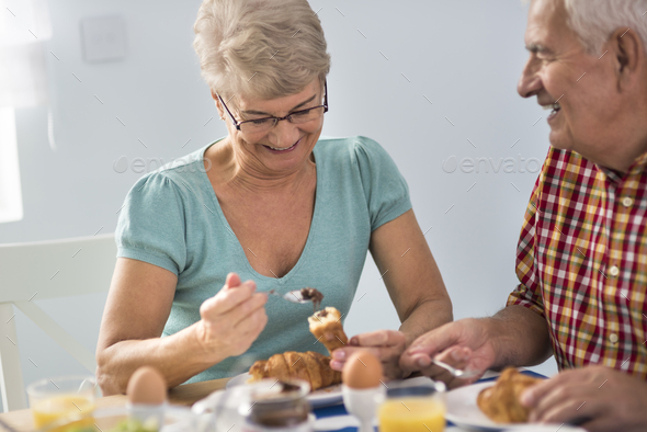 Delicious croissants served for breakfast - Stock Photo - Images