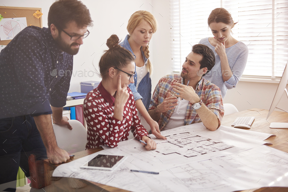 Team of architects have meeting in the office - Stock Photo - Images