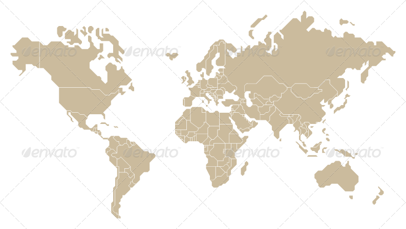 Vector World Map Countries Selectable And Named By Tojio