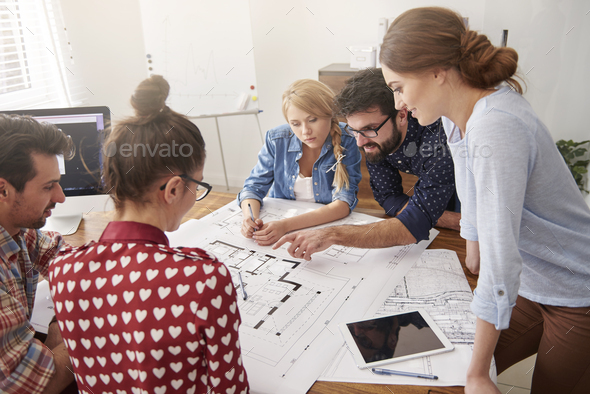 Cooperating with young and creative team - Stock Photo - Images