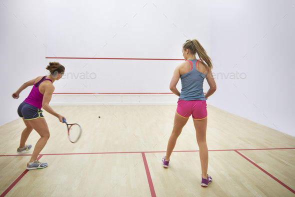 Back view of two squash players - Stock Photo - Images