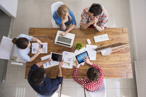 High angle view at the office interior - Stock Photo - Images