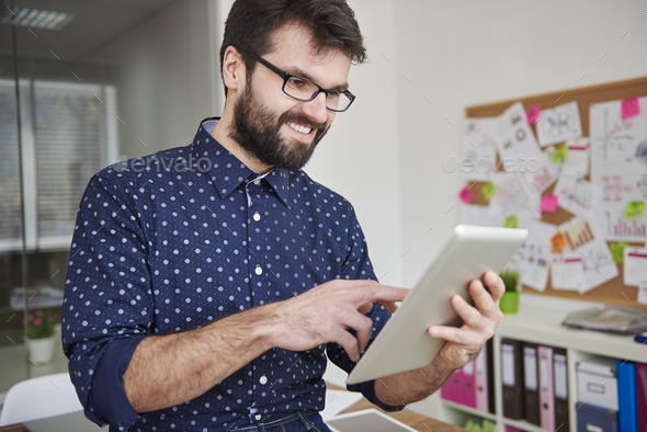 Fast wireless internet in my office can work faster - Stock Photo - Images
