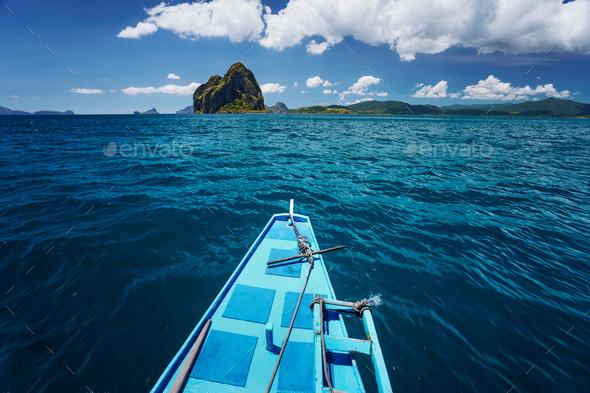 El Nido, Palawan, Philippines. Traditional banca boat on the way to amazing Pinagbuyatan Island. A - Stock Photo - Images