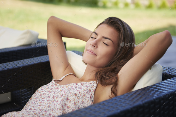 Relaxation in the garden after such a long day - Stock Photo - Images
