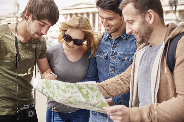 Group of people trying to find the right direction - Stock Photo - Images