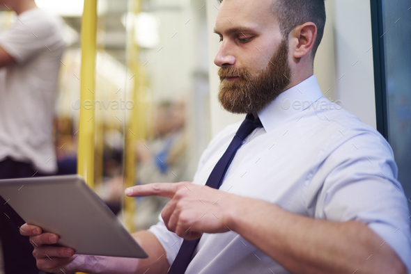 Working during way for meeting with customer - Stock Photo - Images