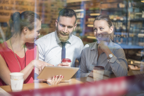 Important business meeting at cafe - Stock Photo - Images