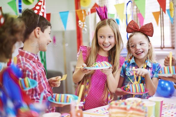 This birthday cake tastes amazing - Stock Photo - Images