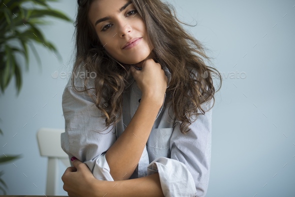 Portrait of a very attractive young woman - Stock Photo - Images