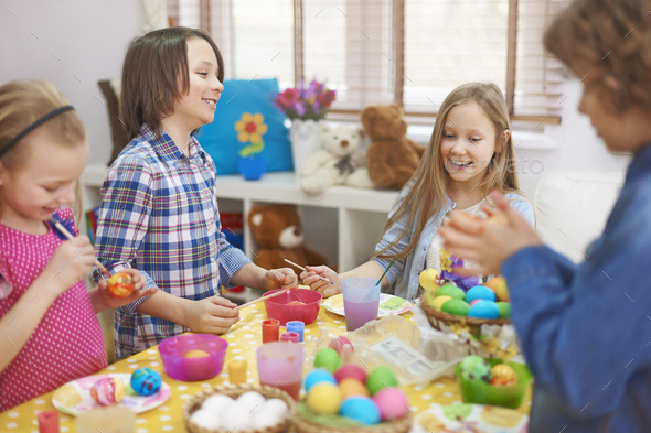 The best time for children in Easter - Stock Photo - Images