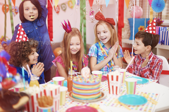 Time to celebrate of ninth birthday - Stock Photo - Images