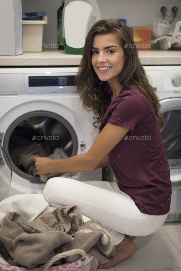 Housewife doing her every week housework - Stock Photo - Images