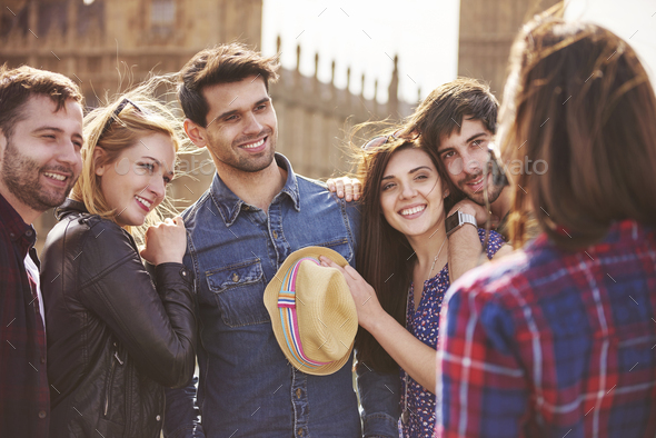 On three, everyone says cheese! - Stock Photo - Images