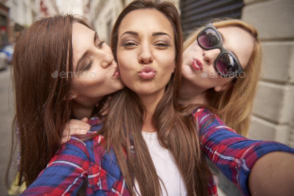 Three Best Friends Taking Selfie On The Street Stock Photo By Gpointstudio