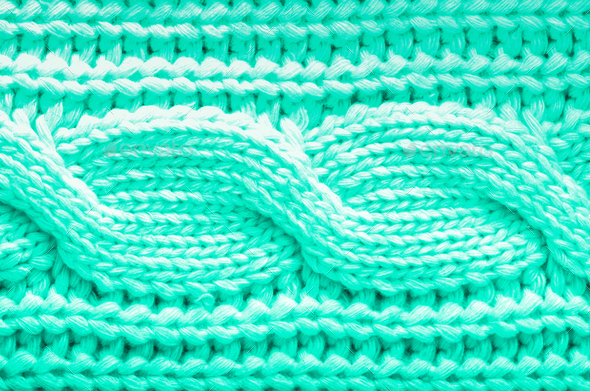 Knitted texture. Pattern fabric made of wool in mint color. Background, copy space. Trendy green and - Stock Photo - Images