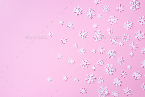 Winter composition. Christmas, new year concept. Top view. Flat lay. Winter pattern made of white - Stock Photo - Images