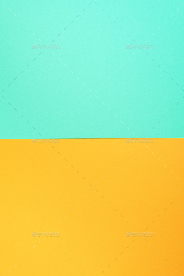 Background in trendy green and yellow colors. Fashionable paper. Top view. Minimal concept. Trendy - Stock Photo - Images