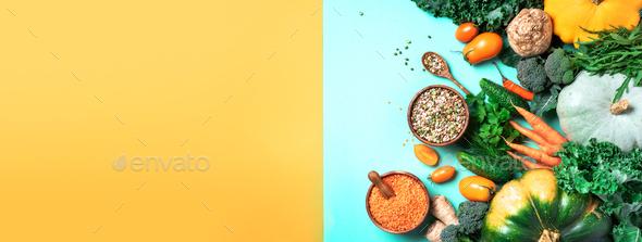Vegan and vegetarian diet, harvest concept. Autumn vegetables, lentils, beans, raw ingredients for - Stock Photo - Images