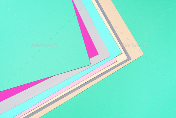 Background in trendy green and pink colors. Fashionable paper. Top view. Minimal concept. Trendy - Stock Photo - Images
