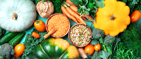 Vegan and vegetarian diet, harvest concept. Autumn vegetables, lentils, beans, raw ingredients for - Stock Photo - Images