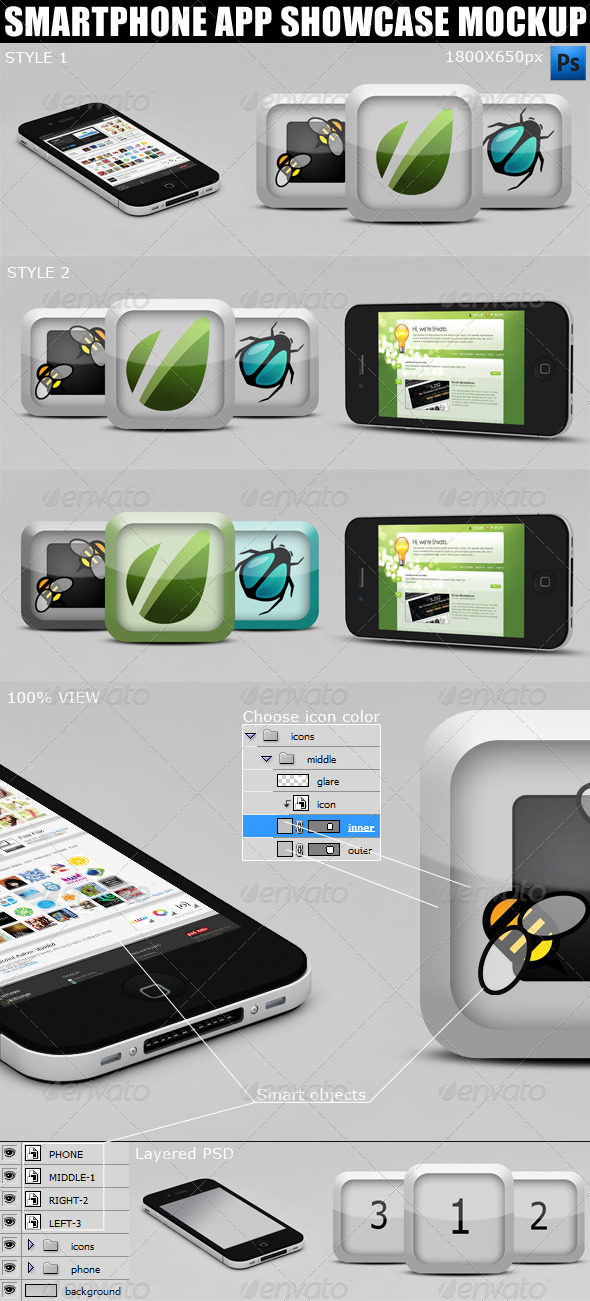 Smartphone App Showcase Mockup - Mobile Displays