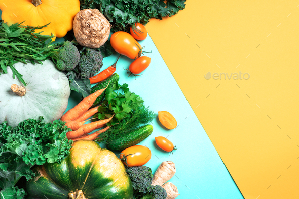 Vegan and vegetarian diet, harvest concept. Autumn vegetables on trendy yellow and green background - Stock Photo - Images