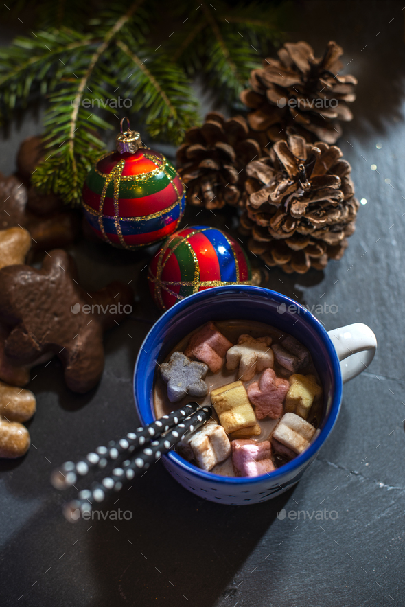 Marshmallow and milk on christmas - Stock Photo - Images