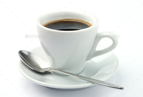 coffee cup and spoon - Stock Photo - Images