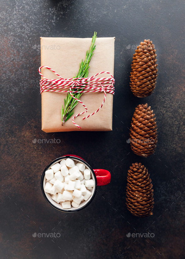Top view of Christmas or winter time flat lay - Stock Photo - Images