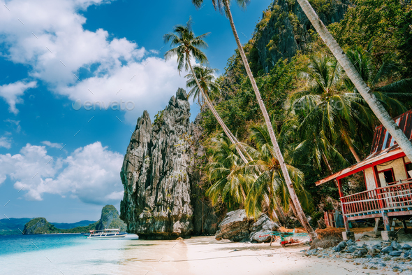 Philippines Scenic Palawan El Nido Island Hopping Tour View Of Karst Pinagbuyutan Island Cliffs