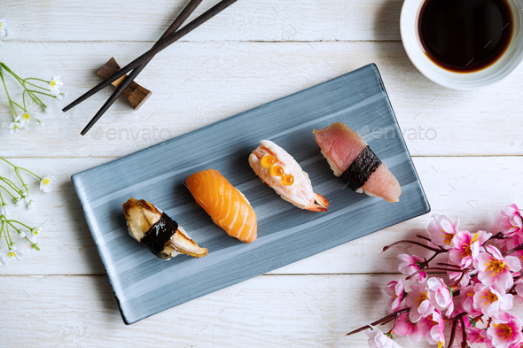 Sashimi sushi set with soy sauce on white wooden table, Top view - Stock Photo - Images