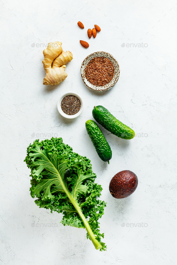 Green smoothie recipe - Stock Photo - Images