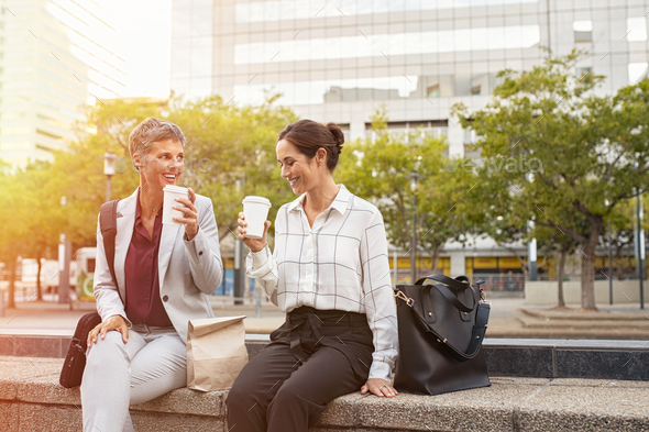 Happy business people enjoying coffee break - Stock Photo - Images