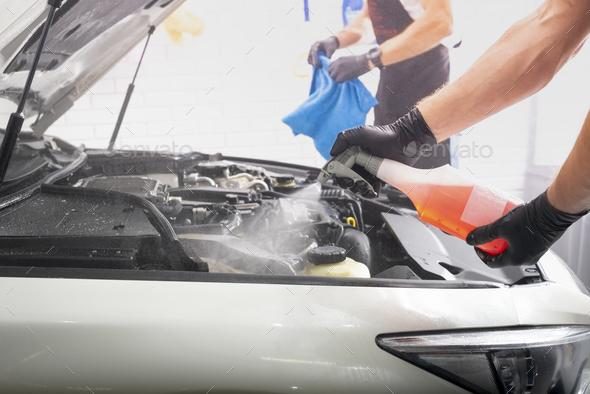 Car detailing cleaning washing engine maintenance - Stock Photo - Images